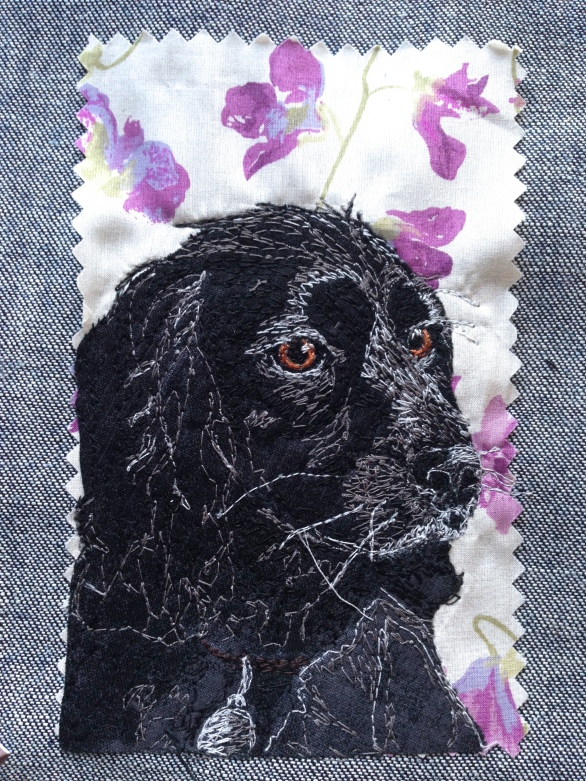 Jeffy final portrait: Freestyle machine embroidery, bespoke portraits