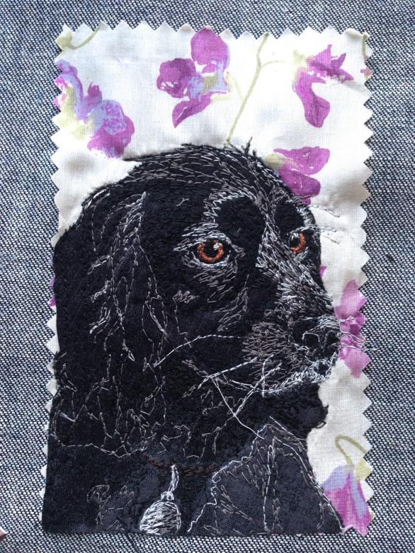 Jeffy final portrait: Freestyle machine embroidery, bespoke portraits